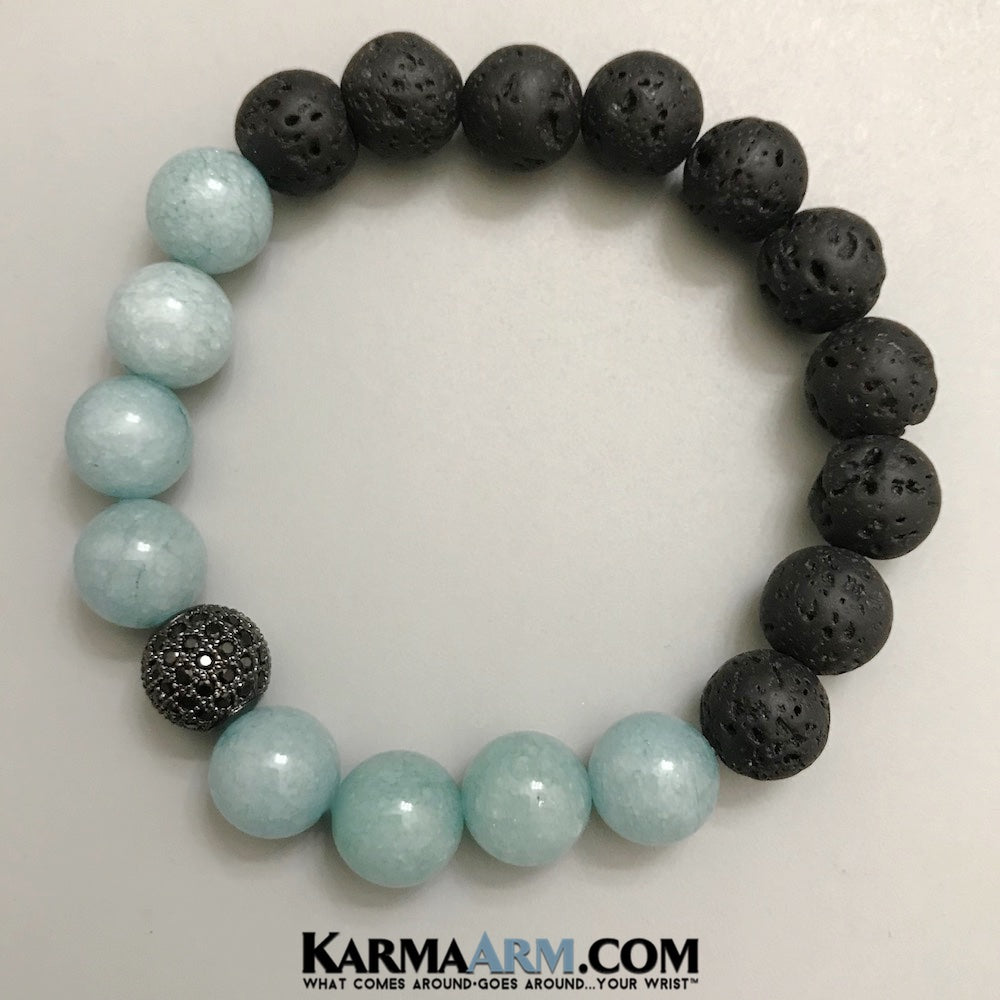 Gemstone Lava Stone Yoga Mala Beaded Bracelets For Men Women