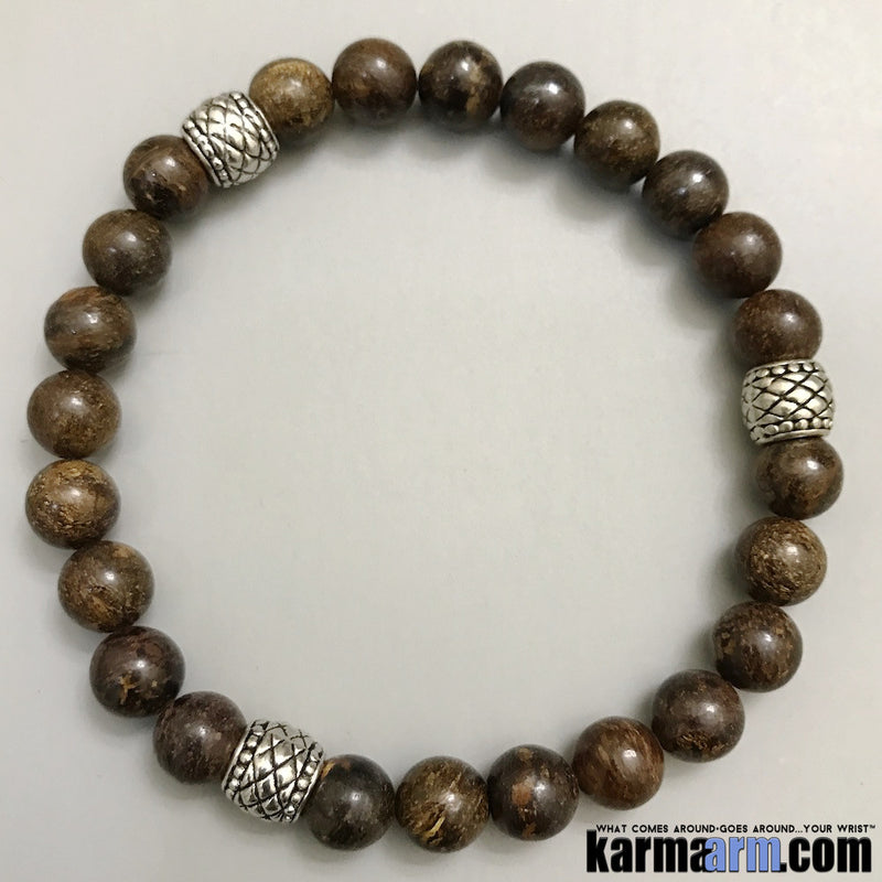 Yoga Bracelets. Bronzite. Men Women. Manifestation Beaded Prayer Mantra Spiritual Mala. Law of Attraction. #LOA Energy Healing.
