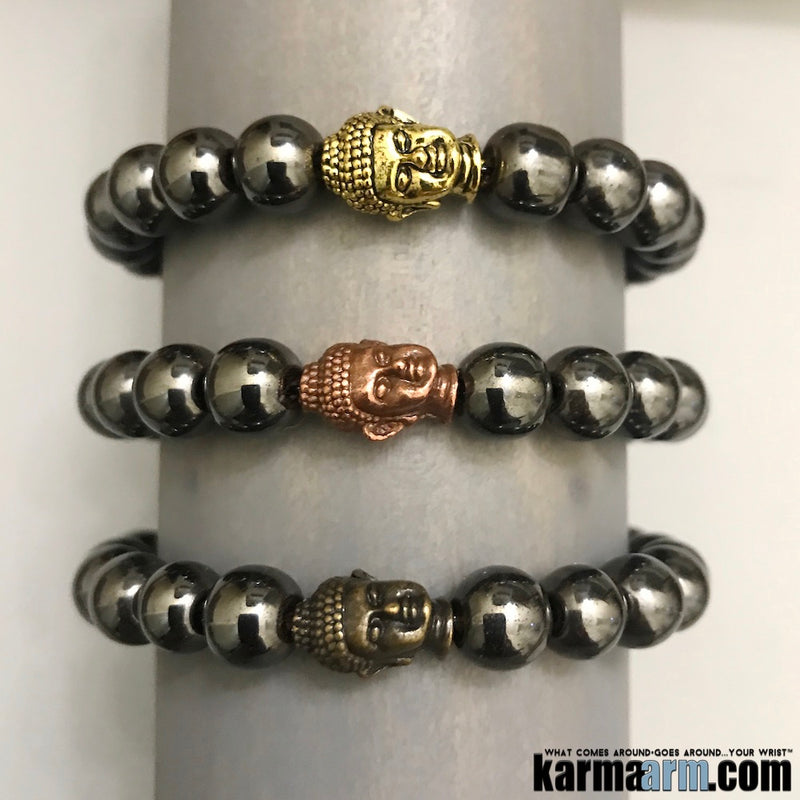 Yoga Bracelets. Buddha Hematite Gifts Love Stretch Mala. Mens Beaded Chakra Jewelry. .