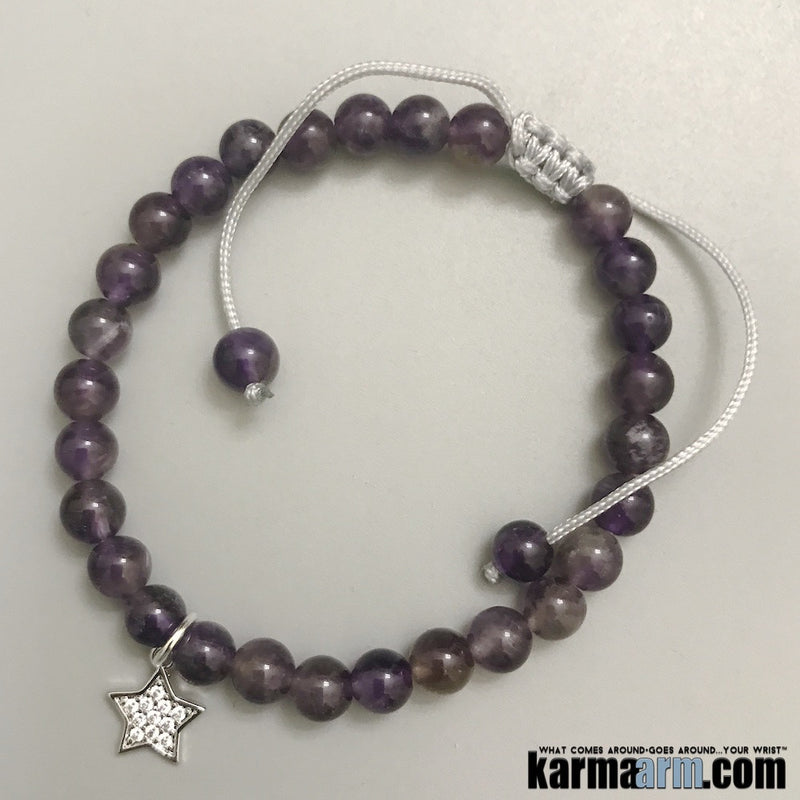 Yoga Bracelets. Crown Chakra. Amethyst Healing Energy. Crown.Handmade Men's Women's Luxury Beaded Mala & Jewelry. Law of Attraction. Manifest. #LOA.