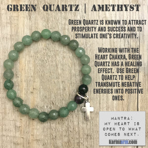 Yoga Bracelets. Chakra Bracelets. Charm. Energy Healing. Handmade Men's Women's Luxury Beaded Mala & Jewelry. Law of Attraction. Manifest. #LOA. Green Quartz Amethyst Cross.