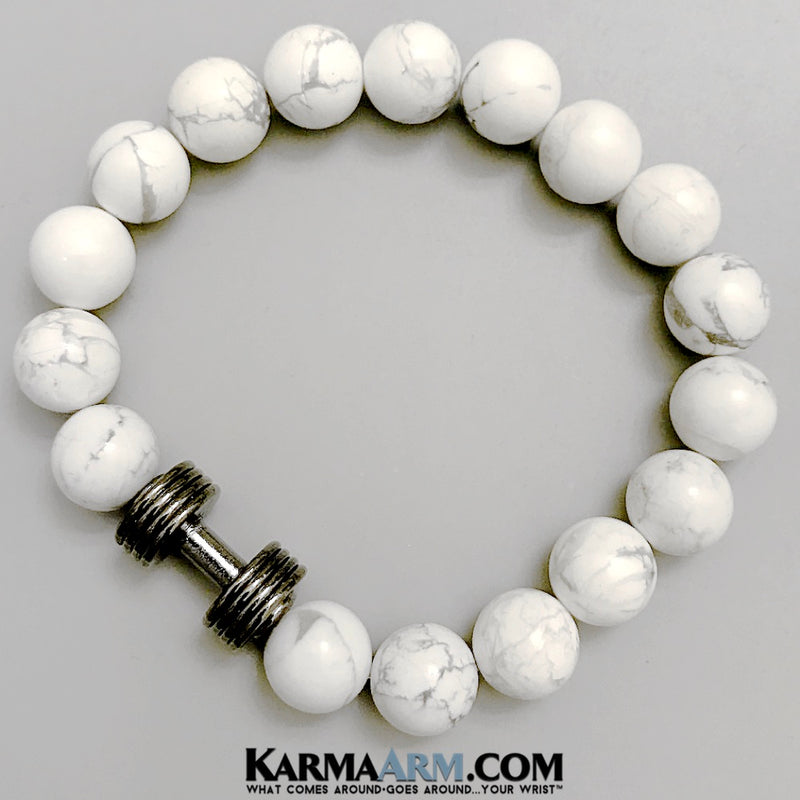 Yoga Bracelets. Chakra Charm Stretch Bracelets. Mens Womens. White Turquoise Dumbbell Barbell.