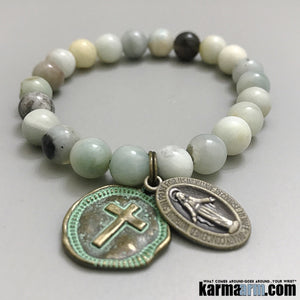 Yoga Bracelets. Chakra Mala Beaded Jewelry. Energy Healing Crystals Stacks. Cross Bronze.