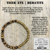 Yoga Bracelets. Chakra Mala Beaded Jewelry. Energy Healing Crystals Stacks. Tiger Eye Hematite.