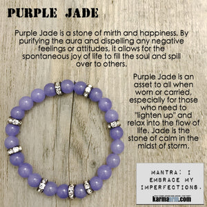 Yoga Bracelets. Chakra Stretch Bracelets. Charm. Law of Attraction. Purple Jade Swarovski.