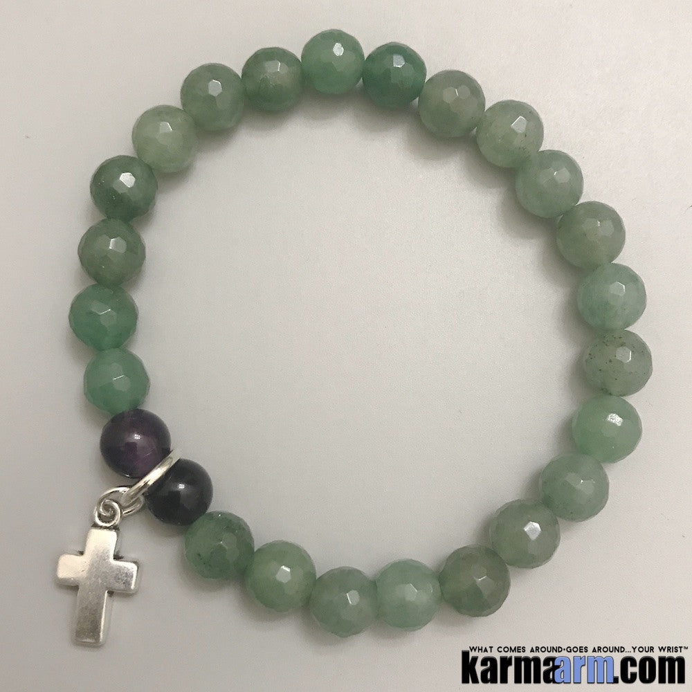 Yoga Bracelets. Chakra Stretch Mens Women's Beaded Shambala Handmade Luxury.  Law of Attraction. Energy Healing. Beaded Mala. Tibetan Buddhist. #LOA. OM Mantra. Green Quartz Amethyst Cross.