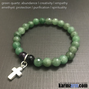 Yoga Bracelets. Chakra Stretch  Women's Beaded Handmade Luxury.  Law of Attraction. Energy Healing. Beaded Mala. Tibetan Buddhist. #LOA. OM Mantra. Green Quartz Amethyst cross.