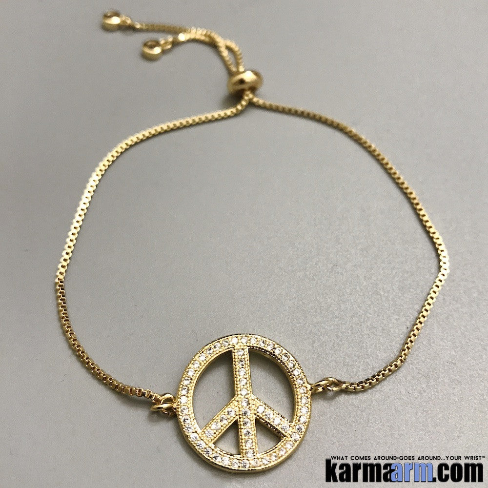 Tennis Yoga Bracelets. Gold Adjustable CZ Diamond. Peace Signs.