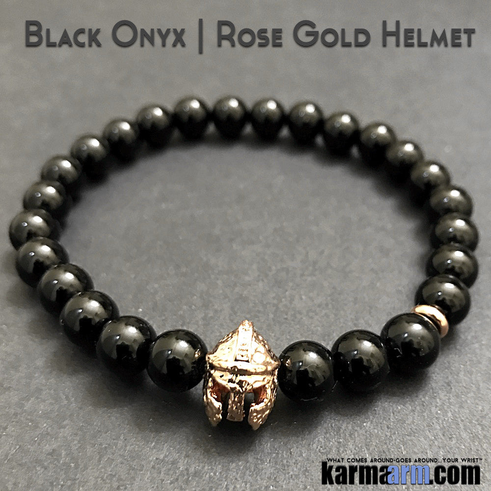 Yoga Bracelets. Comic Book SuperHero Marvel DC Star Wars. Men's Beaded Yoga Jewelry. Energy Healing. Black Onyx Rose Gold Helmet.
