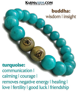 Buddha Yoga Bracelets. Meditation Self-Care Wellness Wristband Zen Jewelry. Blue Turquoise.