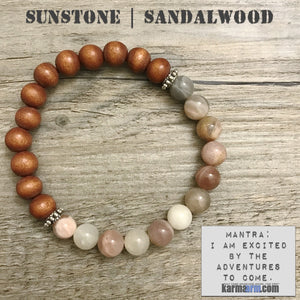Yoga Bracelets. Energy Healing. Handmade Men's Women's Luxury Beaded Mala & Jewelry. Law of Attraction. Manifest. #LOA. Sunstone Sandalwood.
