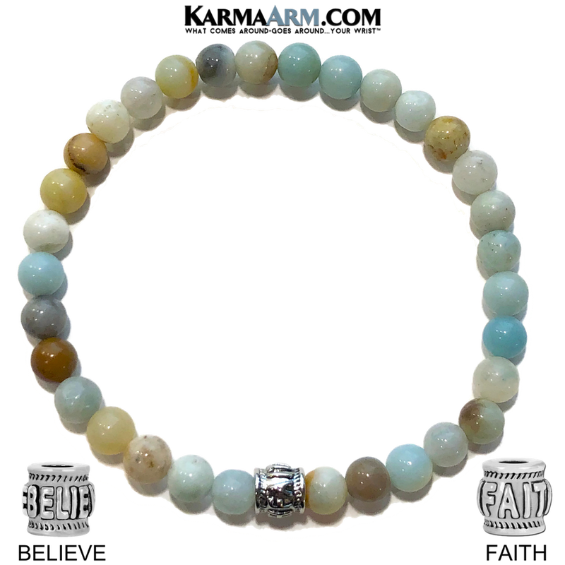 Yoga Bead Bracelets. Spiritual Meditation Jewelry. Amazonite.