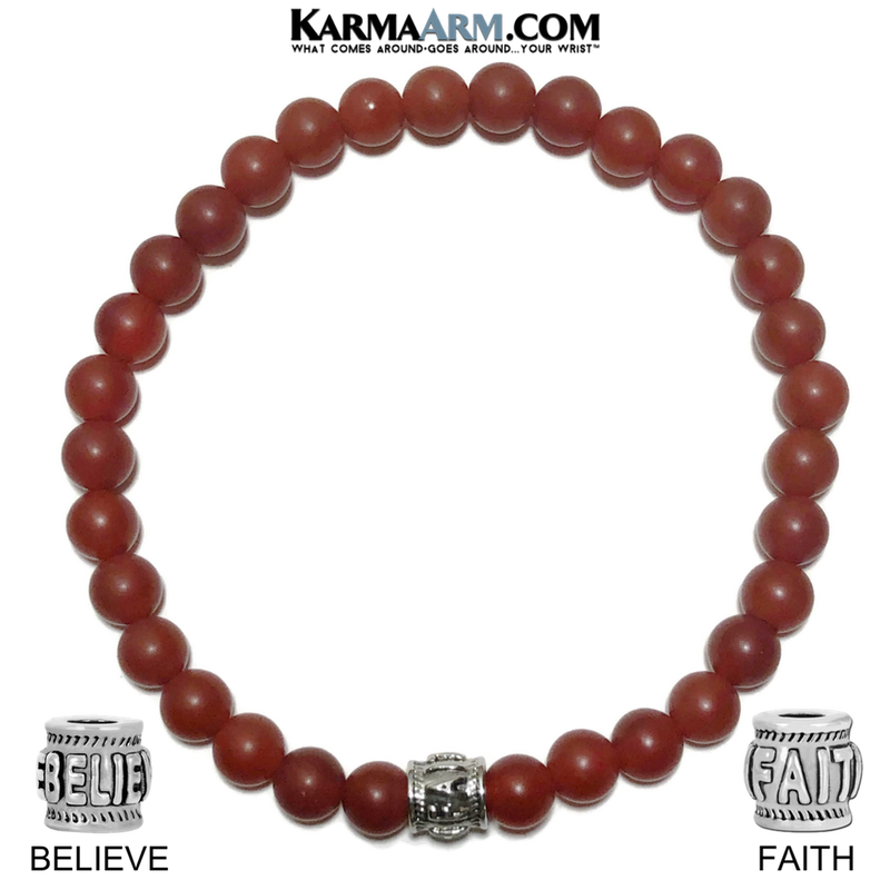 Yoga Bracelets. FAITH Believe Bracelet. Meditation Jewelry. Red Agate.