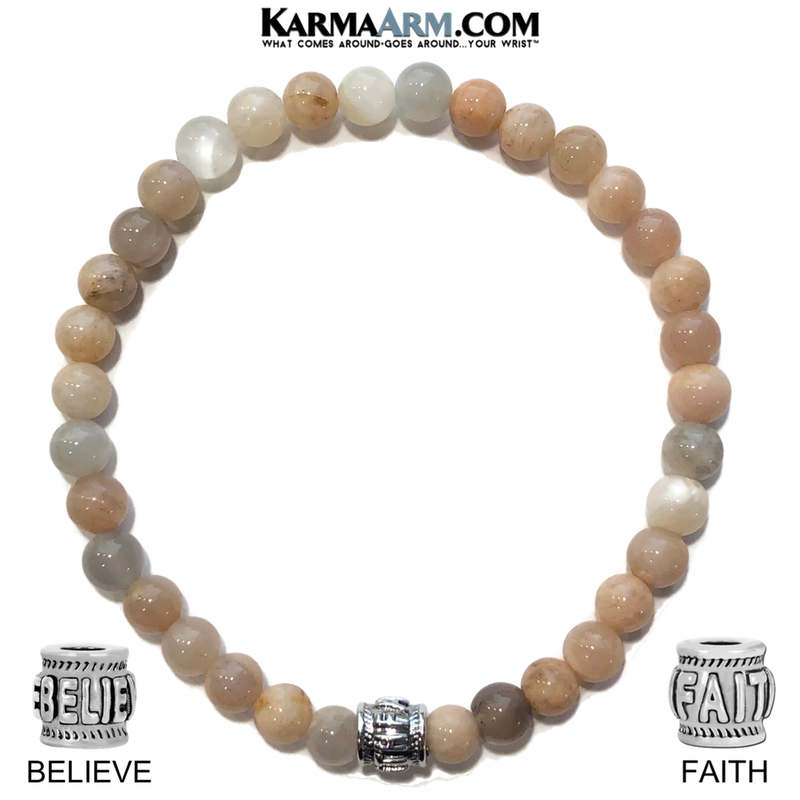Yoga Bracelets. FAITH Believe Bracelet. Meditation Jewelry. Sunstone.