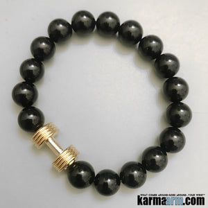 Yoga Bracelets. Fitness Barbell Dumbbell Black Onyx. Gifts Stretch Mala. Mens Beaded Chakra Jewelry.