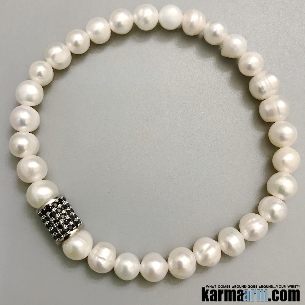 Yoga Bracelets. Freshwater Pearls Pave Gifts Love Stretch Mala. Mens Beaded Chakra Jewelry.