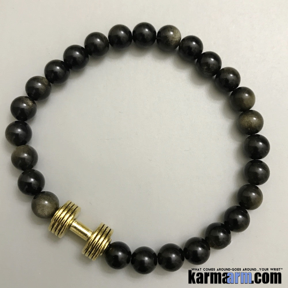 Yoga Bracelets. Gold Barbell Dumbbell Obsidian. Handmade Luxury. Men's & Women's Law of Attraction. Energy Healing. Beaded Mala. Tibetan Buddhist. #LOA.