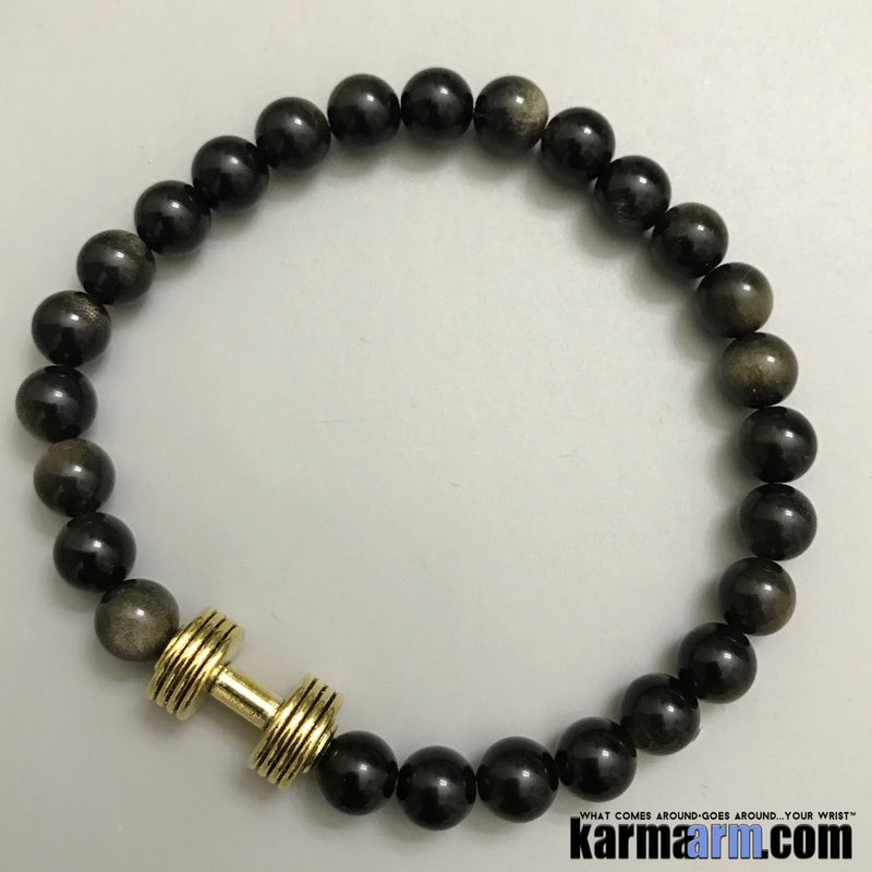 Fitness Bracelets. Gold Barbell Dumbbell Obsidian. Law of Attraction #LOA | Charm Mala I Meditation & Mantra I Spiritual.