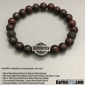 Mens Bracelets. Harley Davidson Logo Bloodstone.Chakra Stretch Mens Women's Beaded Shambala Handmade Luxury.  Law of Attraction. Energy Healing. Beaded Mala. Tibetan Buddhist. #LOA. OM Mantra.