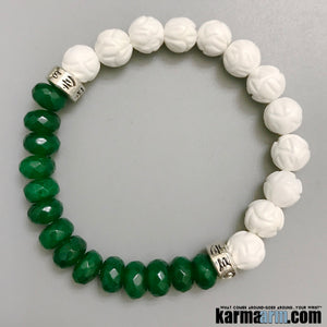 Om Mani Padme Hum Mantra Prayer Wheel | CHAKRA BRACELETS | Jade | Lotus Carved Tridacna Jewelry