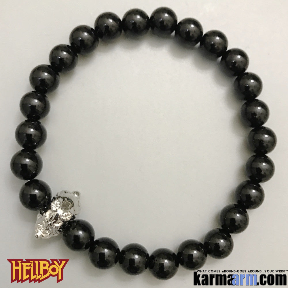 Hellboy Bracelets. Hellboy. Superhero. DC Comics Marvel. Handmade Luxury.  Mens & Women's Law of Attraction. Energy Healing. Beaded Mala. Tibetan Buddhist. #LOA. Black Onyx. White Gold Silver.