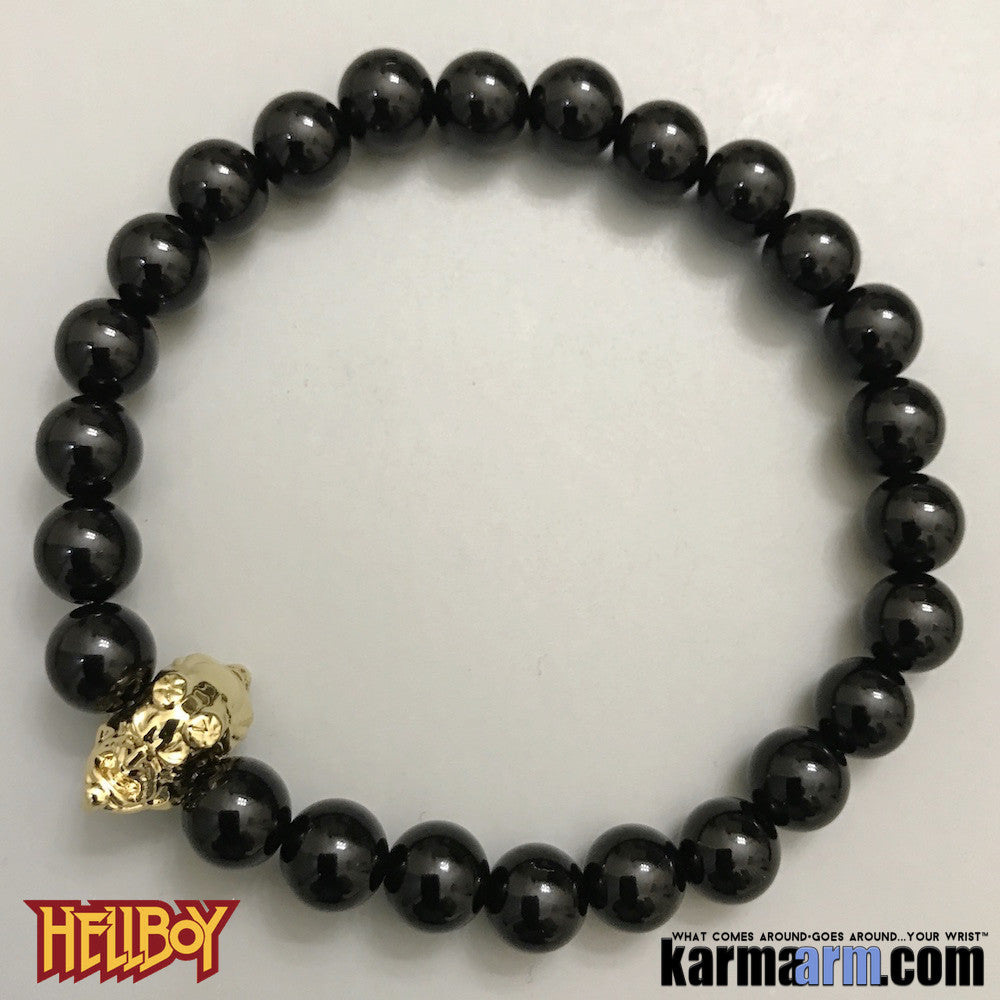 Hellboy Bracelets. Superhero. DC Comics Marvel. Handmade Luxury.  Mens & Women's Law of Attraction. Energy Healing. Beaded Mala. Tibetan Buddhist. #LOA. Black Onyx. Gold.