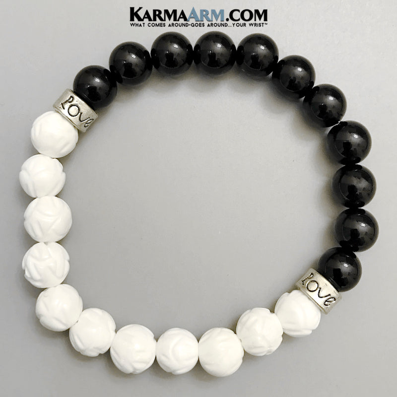 Yoga Beaded Bracelets. Buddhist Buddha Meditation Lotus Jewelry. Tridacna Onyx.