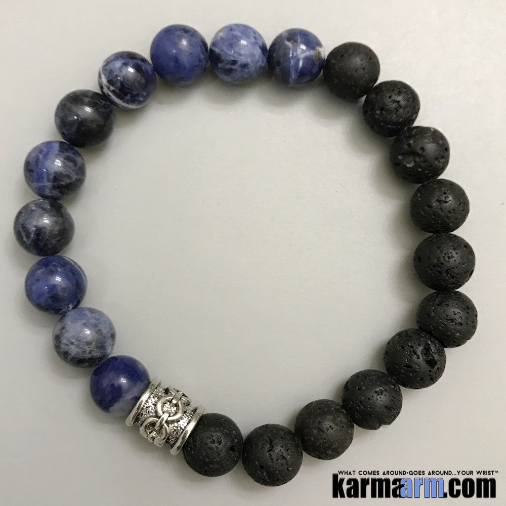 Yoga Bracelets. Lava Blue Sodalite. Men's & Women's Law of Attraction. Energy Healing. Beaded Mala. Tibetan Buddhist. #LOA.