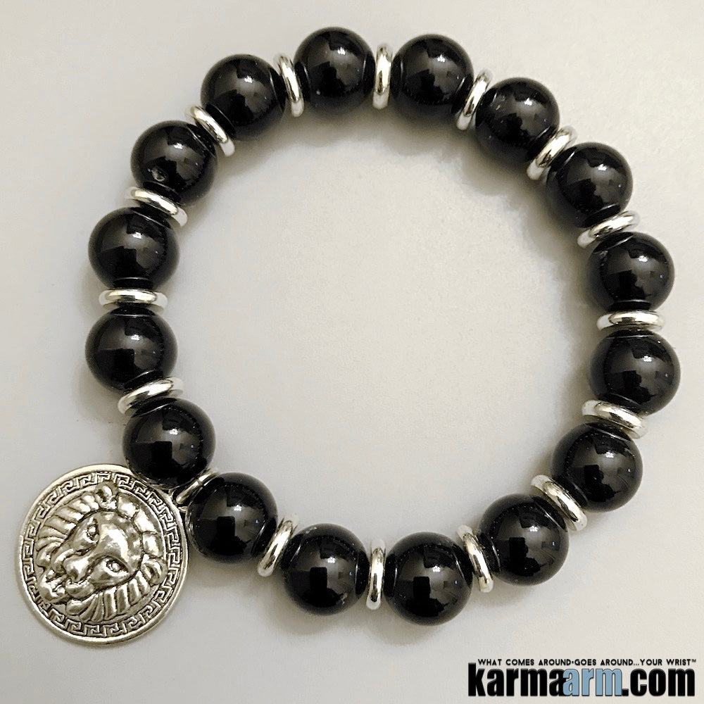 Yoga Bracelets. Lion Versace Charm. Mens Jewelry. Beaded Chakra Bracelet. Black Onyx. Greek Key. Charm Bracelets.