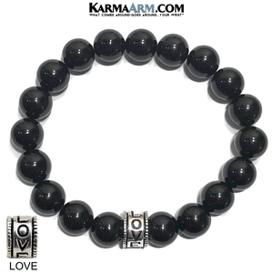 Yoga Bracelets. Love Jewelry. Meditation Zen Beaded Bracelet. Black Onyx.