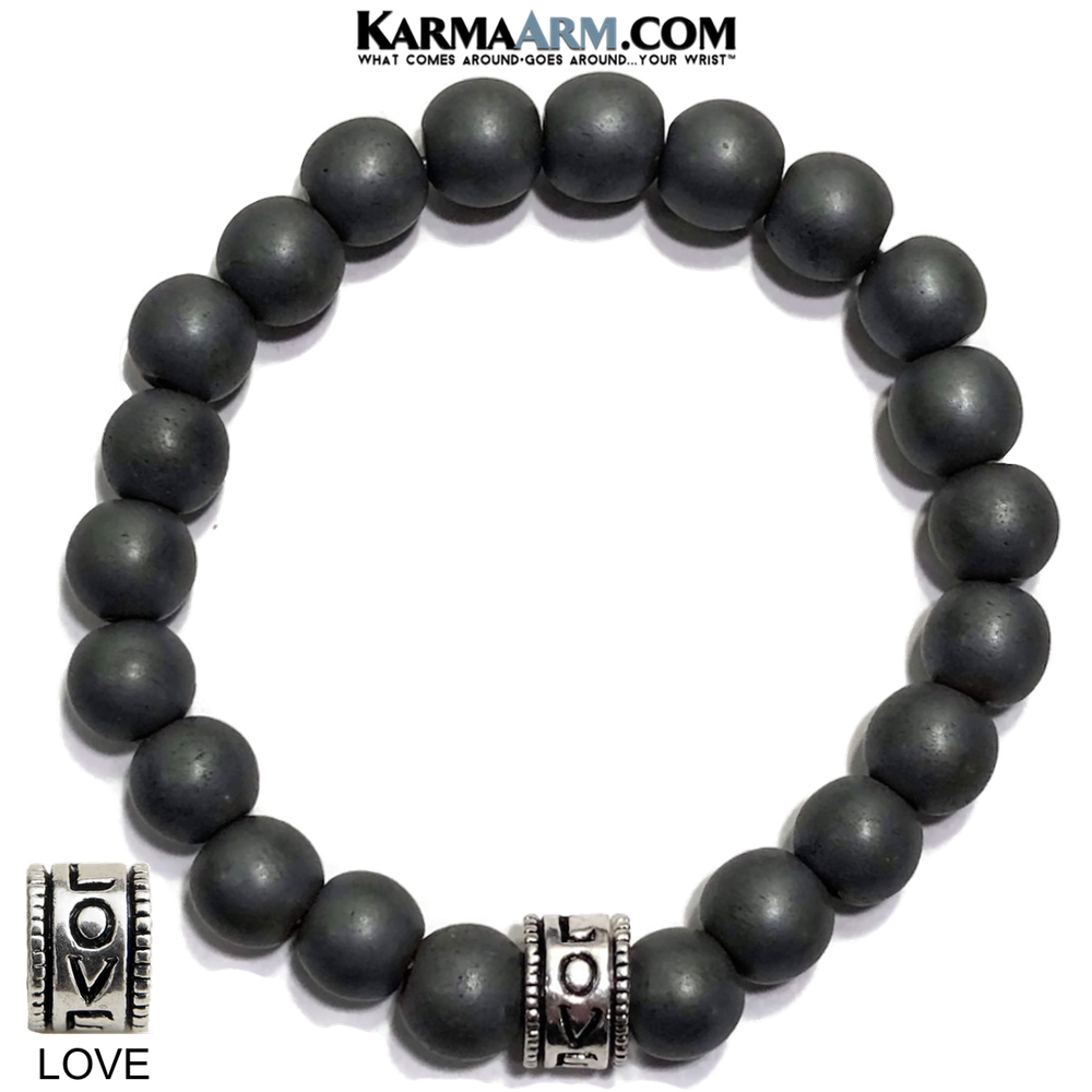 Yoga Bracelets. Love Jewelry. Meditation Zen Beaded Bracelet. Matte Black Hematite.