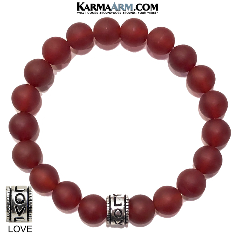 Yoga Bracelets. Love Jewelry. Meditation Zen Beaded Bracelet. Matte Red Aagate.