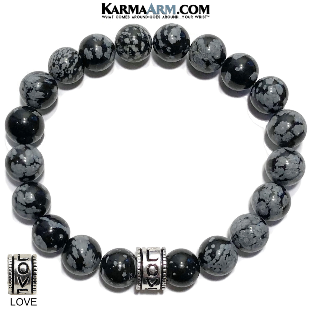 Yoga Bracelets. Love Jewelry. Meditation Zen Beaded Bracelet. Snowflake Obsidian.