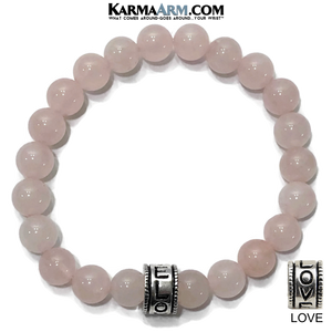 Yoga Bracelets. Love Jewelry. Meditation Zen Beaded Rose Quartz Bracelet.