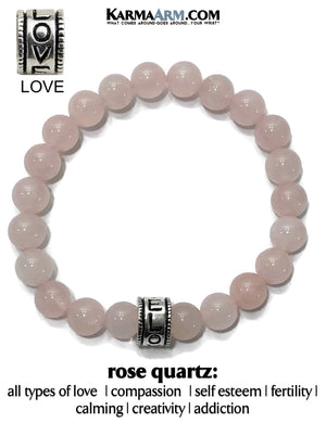 Yoga Bracelets. Love Jewelry. Rose Quartz Meditation Zen Beaded Bracelet.