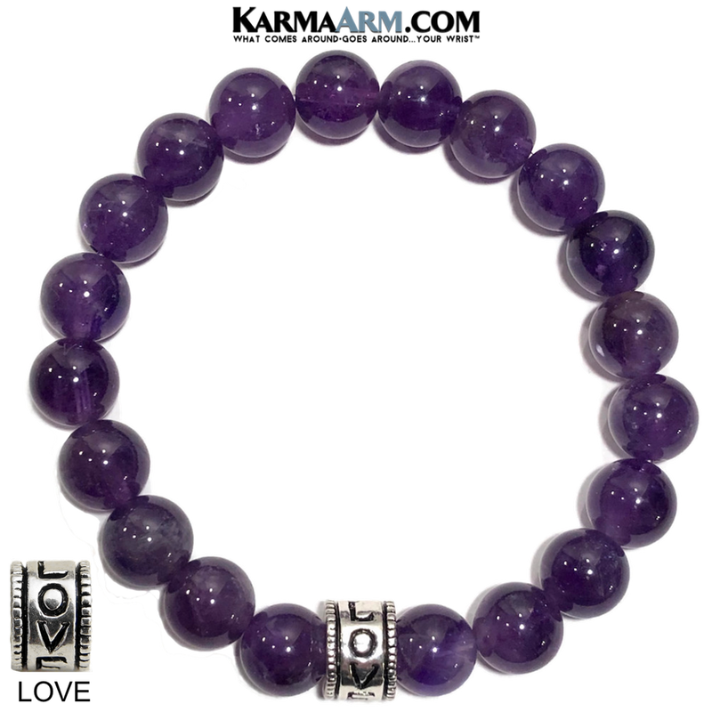 Yoga Love Bracelets. beaded self-care wellness meditation wristband jewelry. Amethyst.