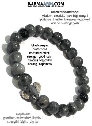 Yoga Bracelets. Lucky Elephant Mens Beaded Stretch Meditation Jewelry. Reiki Healing Energy Chakra Bracelets. Black Moonstone.