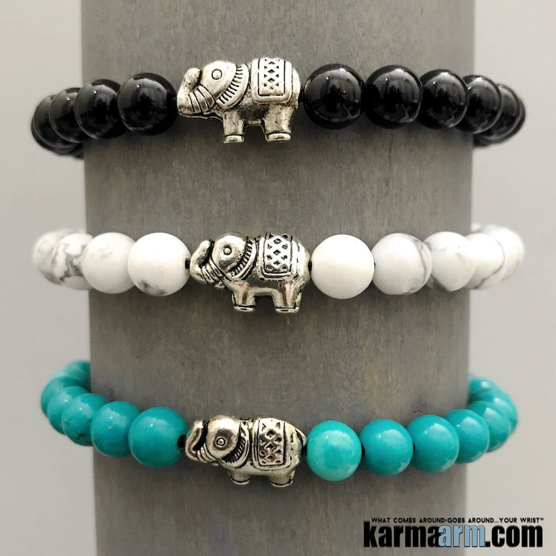 Yoga Bracelets. Lucky Elephant Turquoise Onyx Love Stretch Mala. Mens Beaded Chakra Jewelry.