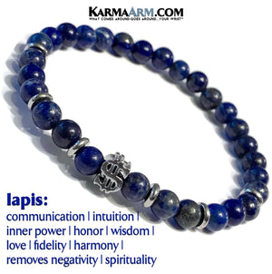 Yoga Bracelets. Manifest Wealth Jewelry. Meditation Zen Beaded Bracelet. Lapis.