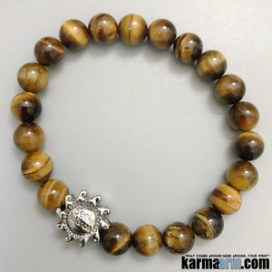 Yoga Bracelets. Mantra Mediation Mala. Seek Balance. Tigers Eye.