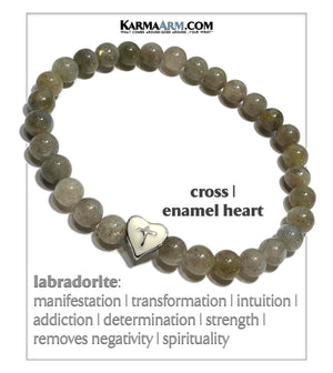 Yoga Bracelets. Meditation Jewelry. Labradorite. Gothic Cross.  copy