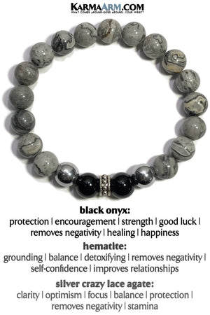 Meditation Beaded Yoga Bracelets. Mens Jewelry.  Silver Crazy Lace Onyx Hematite.