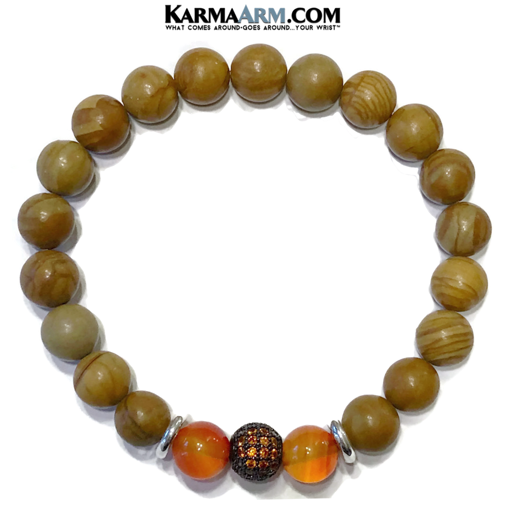 Yoga Bracelets. Meditation Self-Care Wellness Wristband Zen Jewelry.  Carnelian Tigerskin Jasper.