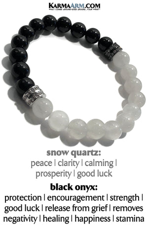 Yoga Bracelets. Meditation Self-Care Wellness Wristband Zen Jewelry.  Snow Quartz Black Onyx.