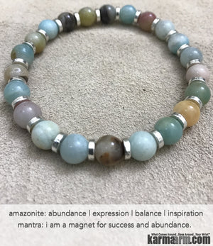 Yoga Bracelets. Mens Bracelets. Amazonite Hope Success Meditation Chakra Jewelry. Reiki Bracelet.
