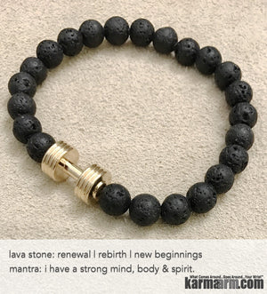 Yoga Bracelets. Men Women. Beaded Prayer Mantra Spiritual Mala. Lava Stone Rose Gold Barbell.
