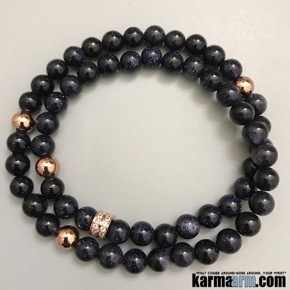 Yoga Bracelets. Mens Beaded Chakra Jewelry. Blue Goldstone Pave Rose Gold Stretch Mala.