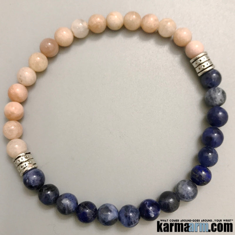 Yoga Bracelets. Mens Beaded Chakra Jewelry. Blue Sodalite Sunstone Stretch Mala.