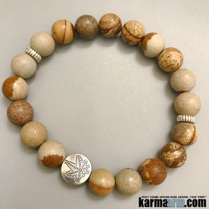 Yoga Bracelets. Mens Beaded Chakra Jewelry. Hemp Pot Leaf Picture Jasper Stretch Mala.