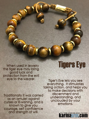 Yoga Bracelets. Mens Beaded Chakra Jewelry. Tigers Eye Gold Macrame Shamballa Stretch Mala.